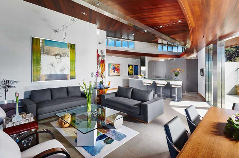 20 Muhteşem Gri ve Beyaz Çağdaş Oturma Odası Tasarımları