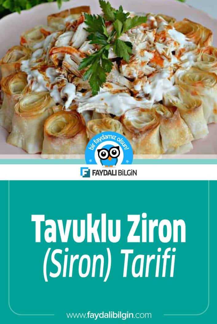 Tavuklu Ziron yada diğer adıyla Siron inanılmaz lezzetli bir yemek. Enfes lezzetiyle işte evinizde yapabileceğiniz Tavuklu Ziron tarifi.