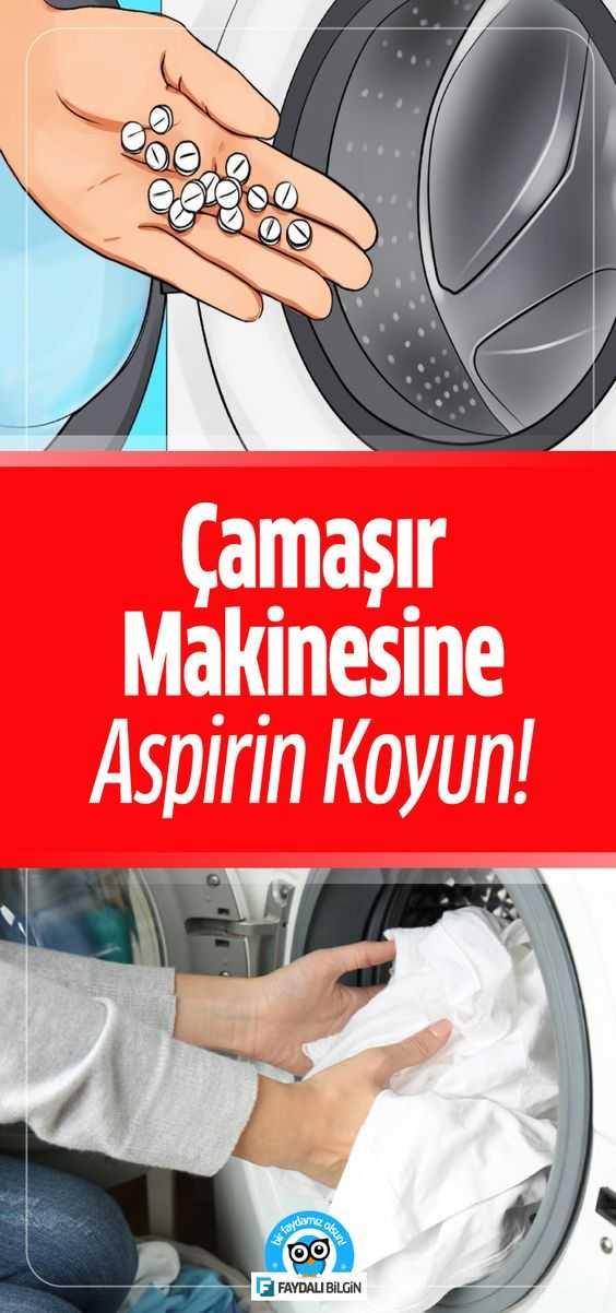 En inatçı lekeleri bile kolayca çıkarmak ve çamaşırlarınızı daha hızlı kurutmak için çamaşır makinesine aspirin koyun ve deneyin. #çamaşır #yıkama #aspirin #beyazlatma #temizlik #çamaşırmakinesi