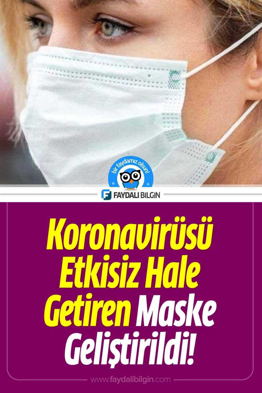 Koronavirüsü Etkisiz Hale Getiren Maske Geliştirildi!